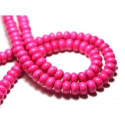 Fil 39cm 81pc env - Perles de Pierre Turquoise Synthèse Rondelles 8x5mm Rose