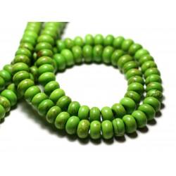 Fil 39cm 81pc env - Perles de Pierre Turquoise Synthèse Rondelles 8x5mm Vert