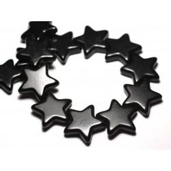 Fil 39cm 18pc env - Perles de Pierre Turquoise Synthèse Reconstituée Étoiles 25mm Noir