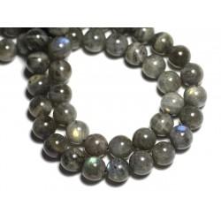 Fil 39cm 37pc env - Perles de Pierre - Labradorite Boules 10mm