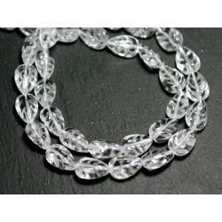 Fil 39cm 33pc env - Perles de Pierre - Cristal Quartz Feuilles gravées 12x8mm