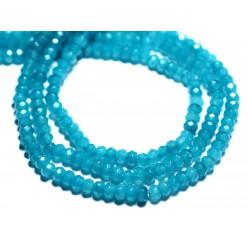 Fil 39cm 128pc env - Perles de Pierre - Jade Rondelles Facettées 4x2mm Bleu Vert Paon Canard