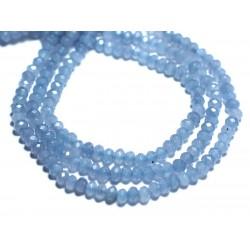 Fil 39cm 126pc env - Perles de Pierre - Jade Rondelles Facettées 4x2mm Bleu Lavande Pastel