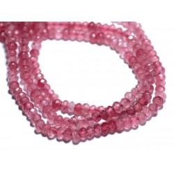 Fil 39cm 138pc env - Perles de Pierre - Jade Rondelles Facettées 4x2mm Rose Pêche Vieux Rose