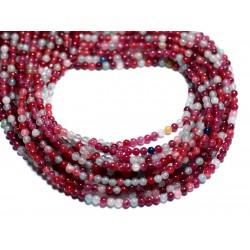 Fil 39cm 172pc env - Perles de Pierre - Jade Boules 2mm Multicolore Rose Fuchsia Bleu