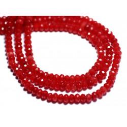 Fil 39cm 132pc env - Perles de Pierre - Jade Rondelles Facettées 4x2mm Rouge Orange Vif