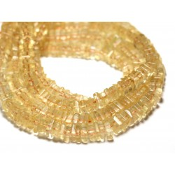 Fil 40cm 205pc env - Perles de Pierre - Citrine Carrés Heishi 3-4mm