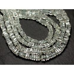Fil 40cm 230pc env - Perles de Pierre - Aigue Marine Carrés Heishi 3-4mm