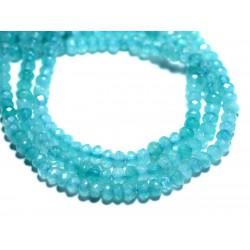 Fil 39cm 132pc env - Perles de Pierre - Jade Rondelles Facettées 4x2mm Bleu clair turquoise