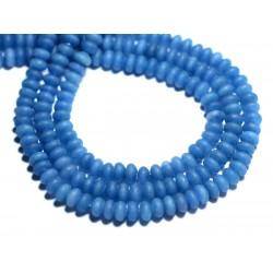 Fil 39cm 112pc env - Perles de Pierre - Jade Rondelles 5x3mm Bleu Roi Mat givré