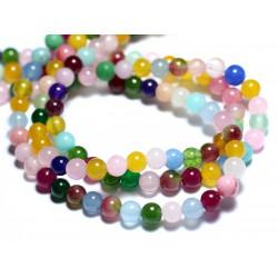 Fil 39cm 64pc env - Perles de Pierre - Jade Boules 6mm Multicolore