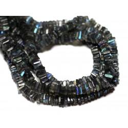 Fil 40cm 215pc env - Perles de Pierre - Labradorite Carrés Heishi 3-4mm