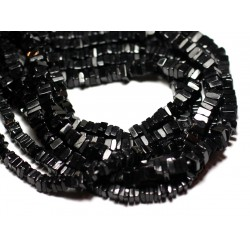 Fil 40cm 230pc env - Perles de Pierre - Spinelle noire Carrés Heishi 3-4mm