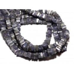 Fil 40cm 190pc env - Perles de Pierre - Tanzanite Carrés Heishi 3-4mm