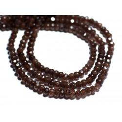 Fil 39cm 128pc env - Perles de Pierre - Jade Rondelles Facettées 4x2mm Brun Marron Taupe
