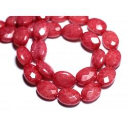 Fil 39cm 27pc env - Perles de Pierre - Jade Ovales Facettés 14x10mm Rouge Rose Framboise