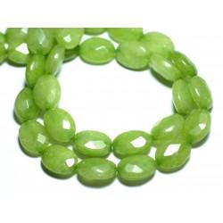 Fil 39cm 27pc env - Perles de Pierre - Jade Ovales Facettés 14x10mm Vert Pomme Anis