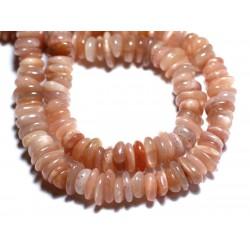 Fil 39cm 120pc env - Perles Pierre de Lune Soleil Rose Chips Palets Rondelles 8-14mm
