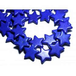 Fil 39cm 18pc env - Perles de Pierre Turquoise Synthèse Reconstituée Étoiles 25mm Bleu Nuit Lapis