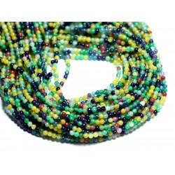 Fil 39cm 186pc env - Perles de Pierre - Jade Boules 2mm Multicolore Jaune Vert Bleu