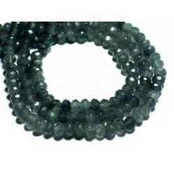 Fil 39cm 88pc env - Perles de Pierre - Jade Rondelles Facettées 6x4mm Gris Anthracite