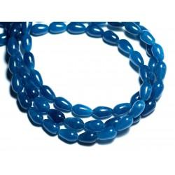 Fil 39cm 39pc env - Perles de Pierre - Jade Gouttes 9x6mm Bleu vert Paon Canard