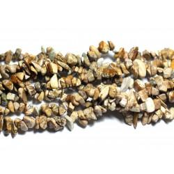 Fil 89cm 280pc env - Perles de Pierre - Jaspe Paysage Beige Rocailles Chips 4-10mm