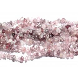 Fil 89cm 190pc env - Perles de Pierre - Quartz Hématoide Hématite Lépidochrosite Rocailles Chips 7-11mm