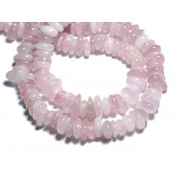 Fil 39cm 100pc env - Perles de Pierre - Quartz Rose Chips Palets Rondelles 8-14mm
