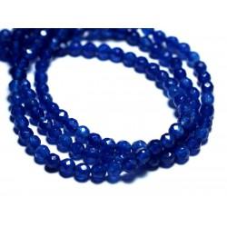 Fil 39cm 89pc env - Perles de Pierre - Jade Boules Facettées 4mm Bleu Nuit Roi