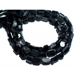Fil 39cm 43pc env - Perles de Pierre - Tourmaline noire Brut Bâtonnets 6-11mm