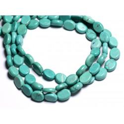 Fil 39cm 43pc env - Perles de Pierre Turquoise Synthèse Ovales 9x7mm Bleu Turquoise