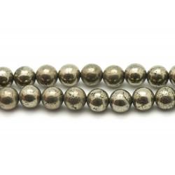 Fil 39cm 39pc env - Perles de Pierre - Pyrite dorée Boules 10mm