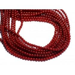Fil 39cm 180pc env - Perles de Pierre - Cornaline Boules 2mm