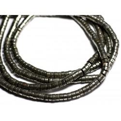 Fil 39cm 93pc env - Perles de Pierre - Pyrite Rondelles 9x5mm