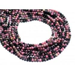 Fil 39cm 180pc env - Perles de Pierre - Rhodonite rose et noir Boules 2mm