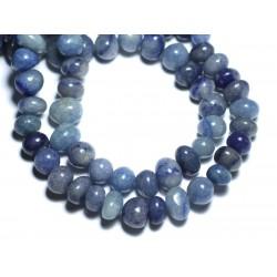 Fil 39cm 55pc env - Perles de Pierre - Aventurine Bleue Galets roulés 9-12mm