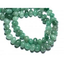 Fil 39cm 53pc env - Perles de Pierre - Aventurine Verte Galets roulés 8-11mm