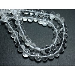 Fil 39cm 50pc env - Perles de Pierre - Cristal Quartz Galets roulés 8-11mm