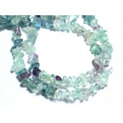 Fil 39cm 110pc env - Perles de Pierre - Fluorite Multicolore Rocailles Chips 4-10mm