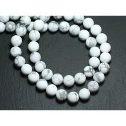 Fil 39cm 46pc env - Perles de Pierre - Howlite Mat givré Boules 8mm