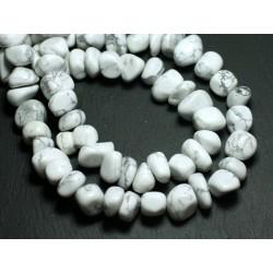Fil 39cm 45pc env - Perles de Pierre - Howlite Galets roulés 10-15mm