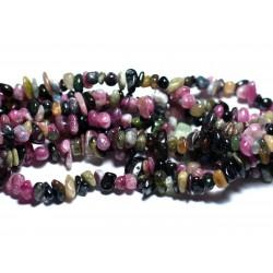 Fil 89cm 285pc env - Perles de Pierre - Tourmaline Multicolore Rocailles Chips 4-9mm