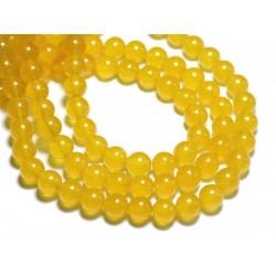 Fil 39cm 48pc env - Perles de Pierre - Jade Boules 8mm Jaune Safran Moutarde