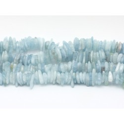 Fil 39cm 150pc env - Perles de Pierre - Aigue Marine Chips Palets Rondelles 9-15mm