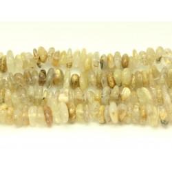 Fil 39cm 100pc env - Perles de Pierre - Quartz Rutile Doré Chips Palets Rondelles 8-13mm