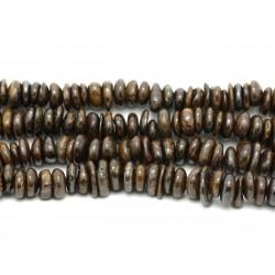 Fil 39cm 110pc env - Perles de Pierre - Bronzite Chips Palets Rondelles 8-12mm