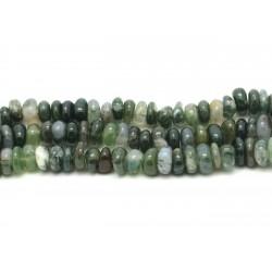Fil 39cm 90pc env - Perles de Pierre - Agate Mousse Chips Palets Rondelles 8-11mm