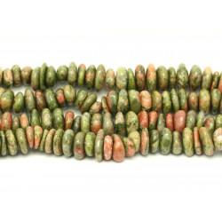 Fil 39cm 95pc env - Perles de Pierre - Unakite Chips Palets Rondelles 8-15mm