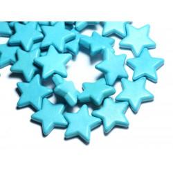 Fil 39cm 18pc env - Perles de Pierre Turquoise Synthèse Reconstituée Étoiles 25mm Bleu Turquoise